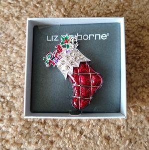 Liz Claiborne Holiday Stocking Brooch